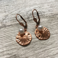 Copper Sand Dollar and Pearl Earrings