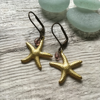 Gold Brass Starfish and Pink Czech Glass Bead Earrings