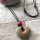 Hag Stone and Pink Wooden Bead Necklace