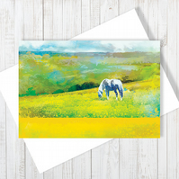 Grazing In Golden Fields Blank Greetings Card - Free UK Delivery