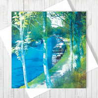 Along The Towpath Blank Greetings Card - Free UK Delivery