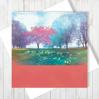 Time To Blossom Blank Greetings Card
