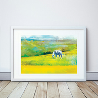 Grazing In Golden Fields Giclee Mounted Print