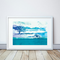 Ploughing The Ground Giclee Mounted Print