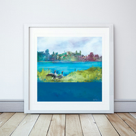 Ellesmere, Shropshire Giclee Mounted Print