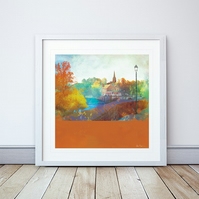 City Walls, River View Chester Giclee Mounted Print