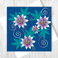 Passion Flower Blank Greetings Card - Free UK Delivery