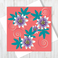 Passion Flower Blank Greetings Card