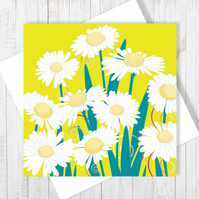 Daisy Dance Blank Greetings Card - Free UK Delivery