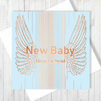 New Baby Card With Copper Foiling