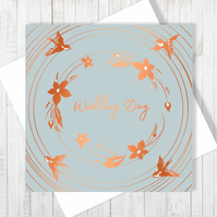 Wedding Day Bouquet Card With Copper Foiling - Free UK Delivery