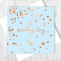 Wedding Day Confetti Card With Copper Foiling