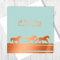 A New Day Card With Copper Foiling