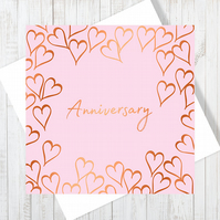 Anniversary Forever Heart Card With Copper Foiling