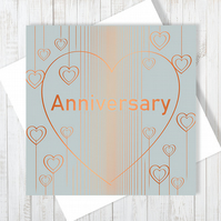 Anniversary Heart Droplets Card With Copper Foiling