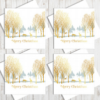Pack Of 4 Winter Forest Christmas Cards With Gold Foiling