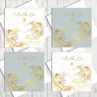 Pack Of 4 The Christmas Star Cards With Gold Foiling
