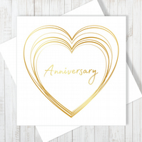 Anniversary Heart Card With Gold Foiling