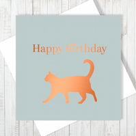 Happy Birthday Card With Copper Foiling - Free UK Delivery