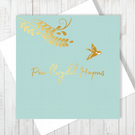 Welsh Pen-blwydd Hapus Little Bird Card With Gold Foiling