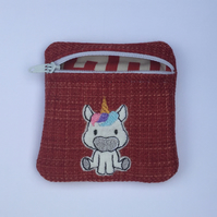 Children's Unicorn Zipper Small Coin Purse Handmade Appliquéd & Embroidered Red