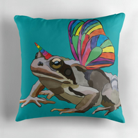Teal Unicorn Frog Cushion Cover Cute Funny Nursery Decor