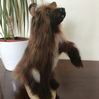 Cecil the Grizzly dog. Needle felted long haired doggy bear.
