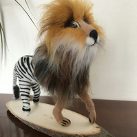 Needle Felted Zeblion, half zebra half lion. Handcrafted mystical animal