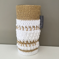 Crochet Vase - Gold & White