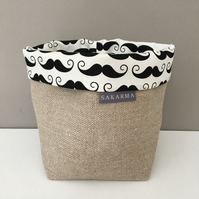 Fabric storage bag - Moustache