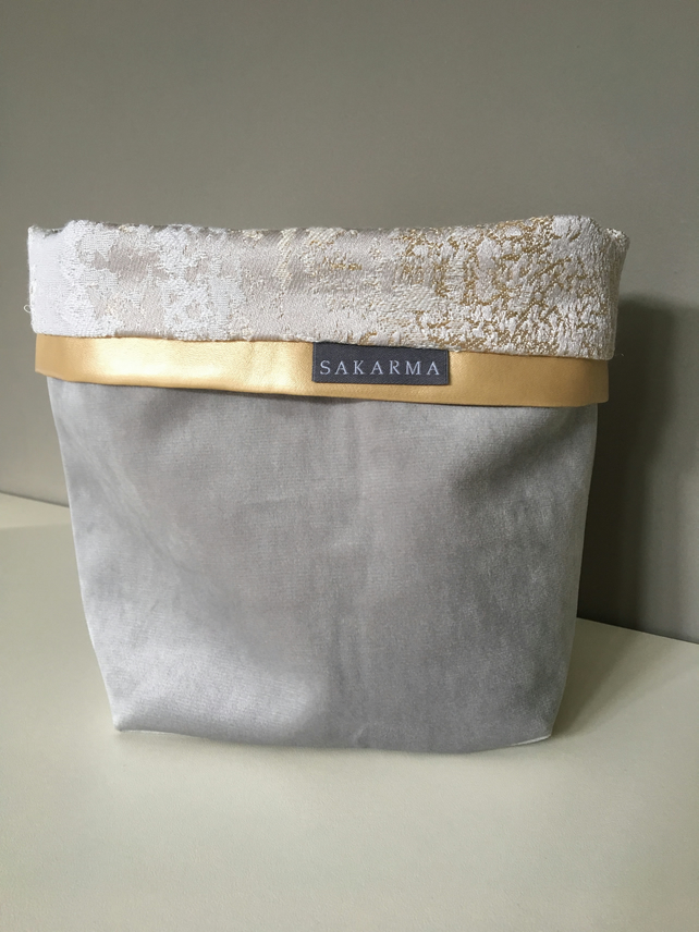 Fabric storage bag - Grey, gold and silver