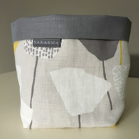 Fabric Storage bag - Yellow and white flowers