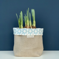 Love You Mum fabric storage bag - Pale Blue