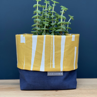 Fabric Storage Bag - Navy and Mustard