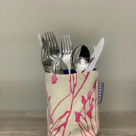 Tin Can Cosy - Pink Stems with bright blue lining