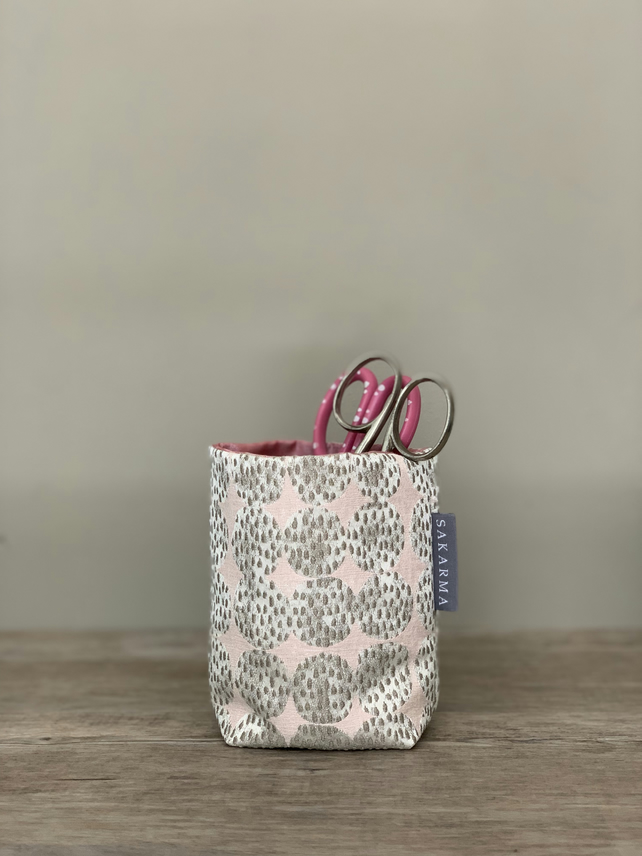 Tin Can Cosy - Pale Pink and Light Grey Ovals