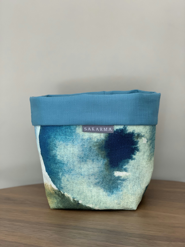 Fabric Storage Bag - Turquoise Watercolour