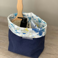Fabric Storage Bag - Navy, Grey, Yellow, Turquoise
