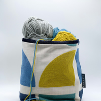 Fabric Storage Bag - Teal, Blue and Mustard