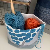 Fabric Storage Bag - Teal & Grey