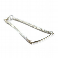 Double Chain Bracelet with Solid Bar