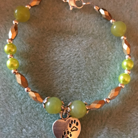 Pawprint Charm Bracelet with Peridot