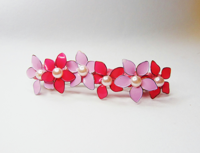 Hair Clip with Pink Nail Varnish Flowers