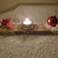 handmade welsh driftwood and pine christmas tealight holder with candles,