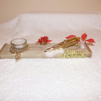 handmade welsh driftwood christmas tealight holder with candles,
