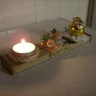 handmade welsh driftwood and pine christmas tealight with candles
