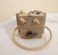 handmade welsh driftwood and pine rope towel ring with free driftwood light pull