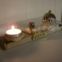 handmade welsh driftwood and pine christmas tea light with candles
