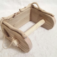 handmade welsh driftwood& pine toilet roll holder,& free driftwood light pull