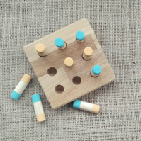 Handmade wooden noughts and crosses, tic tac toe style game